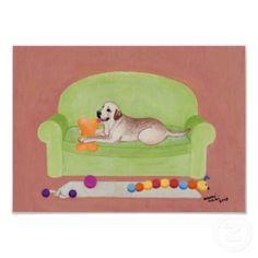 Yellow Labrador on Green Couch by  Naomi Ochiai