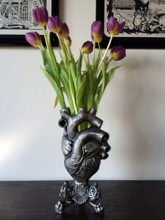 Anatomical Heart Vase Pewter Finish by Dellamorteco on Etsy, $85.00