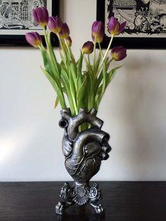 Anatomical Heart Vase Pewter Finish by Dellamorteco on Etsy, $85.00
