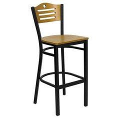 Flash Furniture Hercules Series Black Slat Back Metal Restaurant Bar Stool with Natural Wood Back & Seat XU-DG-6H3B-SLAT-BAR-NATW-GG