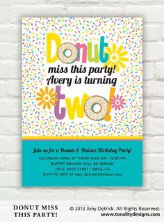 Donut Birthday Party Invitation Printable by tonalitydesigns