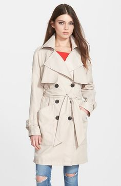 BCBGeneration Patch Pocket Double Breasted Trench Coat available at #Nordstrom