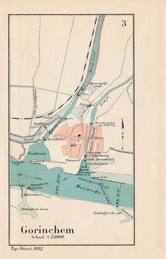 Havenkaart van Gorinchem en omgeving uit 1932, kaart is afkomstig uit Wegwijzer voor de binnen-scheepvaart; een uitgave van de Topografische Dienst. | Barry van Baalen