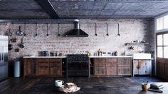 На кухне бетон, кирпич и мебель из старой половой доски удивительным образом сочетаются с мраморной столешницей и современной бытовой техникой.  (индустриальный,лофт,винтаж,стиль лофт,индустриальный стиль,интерьер,дизайн интерьера,мебель,архитектура,дизайн,экстерьер,квартиры,апартаменты,кухня,дизайн кухни,интерьер кухни,кухонная мебель,мебель для кухни,фото кухни,столовая,дизайн столовой,интерьер столовой,мебель для столовой,фото столовой,идеи столовой) .