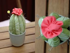 Tutorial for an adorable cactus-shaped pincushion!  It wouldn't even roll around because of the pot.....so cute.