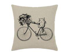 Cat Bike Bicycle Flower Bouquet Art Print Cat Kitten - print on natural linen canvas - de Little Green House, Hipster Cat, Decorative Pillow Covers, Cats And Kittens, Cute Cats, Original Artwork, Bouquet, Bicycle, Kitty