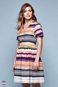 Stripe Belted Dress Multi   Yumi