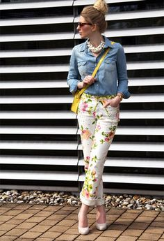 Floral pants, denim chambray , pumps and statement necklace