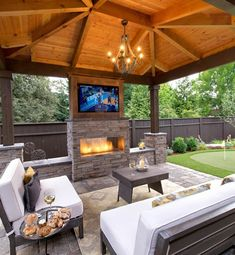 The Shriver Property Small Backyard Gazebo will guide you through a rustic modern landscape design with gazebo, bar island and putting green on side yard Outdoor Kitchen Patio, Outside Patio, Outdoor Kitchen Design, Back Patio, Indoor Outdoor, Outdoor Patios, Outside Living, Outdoor Kitchens, Outdoor Spaces