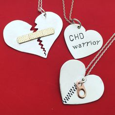 CHD awareness necklaces.  For those in the zipper club and those affected by congenital heart defects