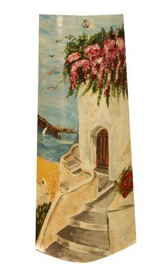 Paisaje ibicenco. Teja pintada Roof Tiles, Rock Art, Decoupage, Diy And Crafts, Diy Projects, Watercolor, Drawings, Painting, Inspiration
