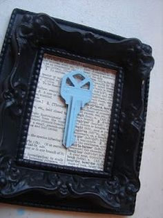 Frame the key from your first home together - would be cute with a street map behind the key. Paint the key to match your room's color scheme with nail polish >> I need to try this out once we get our house! And I agree that a map behind it would be ideal... you could mark your home's location with a little heart or something ;-)