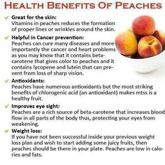 Peaches and its benefits..  Fresh peaches are a moderate source of antioxidant, vitamin C. Peaches are low in calories and contain no saturated fats. Nonetheless, they are packed with numerous health promoting compounds, minerals and vitamins!