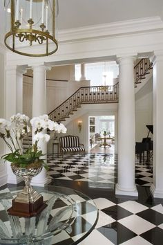 Design · home decor · pillars and foyer flooring fashion addict, foyer, photo and video, mansions, house Style At Home, Foyer Decorating, Interior Decorating, Beautiful Interiors, Beautiful Homes, House Beautiful, Beautiful Images, Interior Architecture, Interior And Exterior