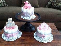Pink and Grey Baby Shower Centerpieces Bundt Size Diaper cakes other sizes and colors too on Etsy, $12.00