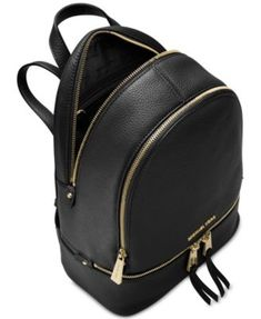 Michael Michael Kors Rhea Zip Small Backpack - Black Small Black Leather  Backpack 04b8d1c70d3ad