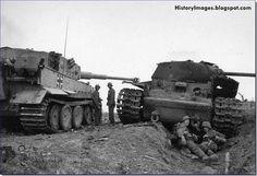 Tiger tank and a destroyed Soviet KV-1 tank at Lake Ladoga, Leningrad, September 1943.