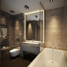 Spotlights and LED strips can create a soothing atmosphere in your bathroom. Simplicity is key.