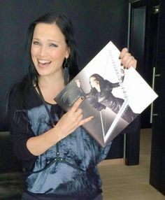 Tarja Turunen with her copy of The Brightest Void vinyl.