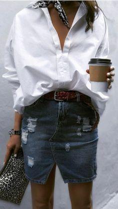 shirt. denim mini skirt. street style.