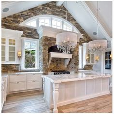 Shingle Style white kitchen with cathedral ceiling, arched clerestory windows, and stone accents. Talk about a dream kitchen. Home Design, Interior Design, Design Ideas, Design Layouts, Clerestory Windows, Arched Windows, New Kitchen, Kitchen Ideas, Kitchen White