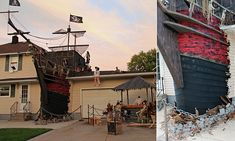 Situated in Lorain, Ohio, the Halloween scene consists of a lifelike, two-story shipwreck crashing through the back between the house and the garage.