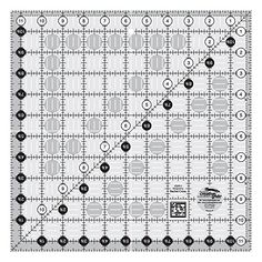 Creative Grids Quilting Ruler 11 1/2 Inch Square - features easy-to-read black and white markings printed in 1 inch grids marked in 1/8 inch and 1/4 inch increments.