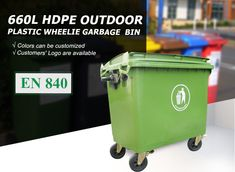 Green 660 Litre large Wheelie Bin wholesale from China with 4 wheels heavy duty storage Outdoor Trash Cans, Garbage Containers, Plastic Pallets, Industrial Waste, Waste Container, Commercial Street, Welding Machine, Garbage Can, Trash Bins