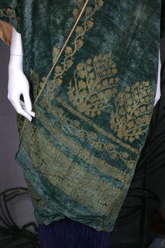 Mariano Fortuny Green Stencilled Velvet Long Coat image 7