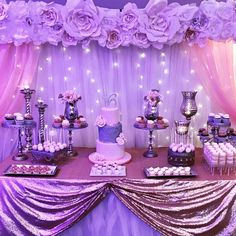 Sweet 16 Sweet Table Blush and silver theme sweets table featuring a 3 tier cake, cupcakes, mini cupcakes, Cakepops, caramel wrapped. Sweet 16 Party Themes, Sweet 16 Party Decorations, Quince Decorations, Quinceanera Decorations, Birthday Decorations, Quince Themes, Quince Ideas, Purple Sweet 16, Sweet 15