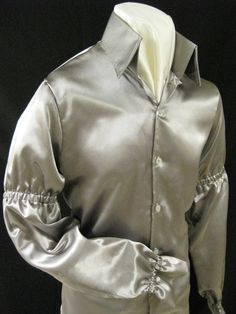 Silver Shimmer Satin Shirt — B&K Enterprises Costume Company Costume Ideas, Costumes, King Fashion, Satin Shirt, Mens Clothing Styles, Elvis Presley, Jumpsuits, Give It To Me, Stage