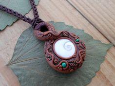 Shiva eye shell Malachite clay macrame necklace, polymer clay pendant, polymer…