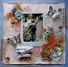 Rustico *Tresors De Luxe* **Scraps Of Darkness** - Scrapbook.com/ love the burlap,flowers, rolled up napkins w/lace? have to learn about scrap booking