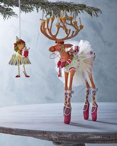 """Dancer""+Reindeer+Figure+&+Elf+Ornament+by+Patience+Brewster+at+Horchow."