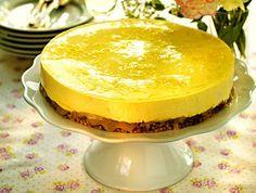 Lemon Mousse Cake with licorice nut bottom