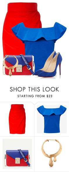 """Enter contest Save Draft Open New       WomenMenHomeMy ItemsCollectionsContestpencil×Tops×Bags×red and blue× Schield Women Fluid Choker"" by cassandra-cafone-wright ❤ liked on Polyvore featuring Versace, Ted Baker, WithChic, Schield Collection and Christian Louboutin"