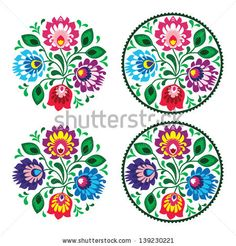 Ethnic round embroidery with flowers - traditional vintage pattern from Poland - stock vector