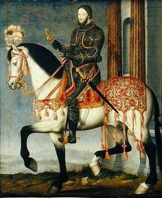 Francis I of France (1494-1547) (oil on oak panel) . Clouet, Francois (c.1510-72) (and workshop)