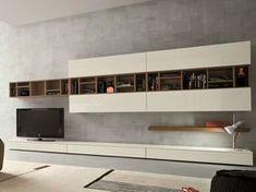 Mueble modular de pared composable con soporte para tv SLIM 16 By Dall'Agnese diseño Imago Design