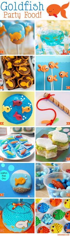 Think beyond the bowl of Goldfish crackers with these goldfish party food ideas! (Not that you shouldn't serve a bowl of Goldfish crackers too, I mean, how cute Birthday Party Snacks, 3rd Birthday Parties, 2nd Birthday, Birthday Ideas, Goldfish Party, Goldfish Crackers, Hawaian Party, Bubble Guppies Birthday, Adoption Party