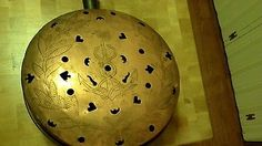 1700s copper hand engraved bed warmer anchor, snakes, hearts, clubs, spades.