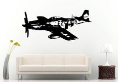 Old Vintage War Air Force Airplane Jet Aircraft Wall Decal Vinyl Sticker Mural Room Decor L673