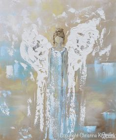 ORIGINAL Angel Painting Abstract Guardian Angel Wings Textured Blue White Home Wall Art 20x24""