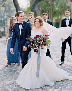 A Gem-Toned Texas Wedding with French Touches on Martha Stewart Weddings.  Floral: The Southern Table | Planning: The Wildflowers | Photo: Ryan Ray Photography | Ribbon: Silk & Willow