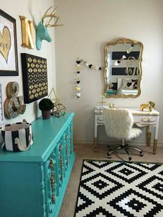 Love the color of the dresser and the rug