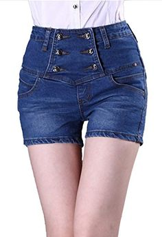 9abdbeb12946 Allonly Allonly Women's Fashion High Waisted Slim Fit Stretch Denim Shorts  Hot Pants Hot Pants,