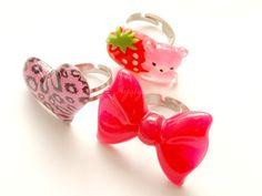 Fairy kei kawaii ring decora 3 in a box bow leopard by Aya1gou, $13.00