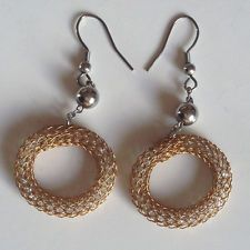 Stainless steel balls and fish hook earrings with dangling pink gold ... Lot 980