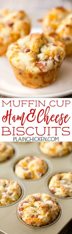 Muffin Cup Ham and Cheese Biscuits - SO GOOD! Great for breakfast, lunch or dinner. Make in a mini muffin pan for parties. There are never any left!! Flour, baking powder, salt, mayonnaise, ham and cheese. Ready in under 15 minutes!