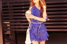 One shoulder blue dress